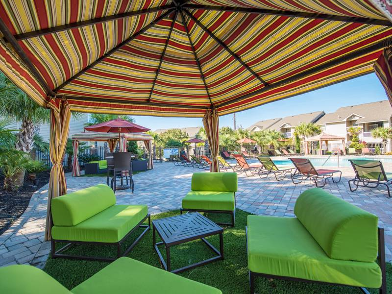 Expansive Sundeck with Cabanas