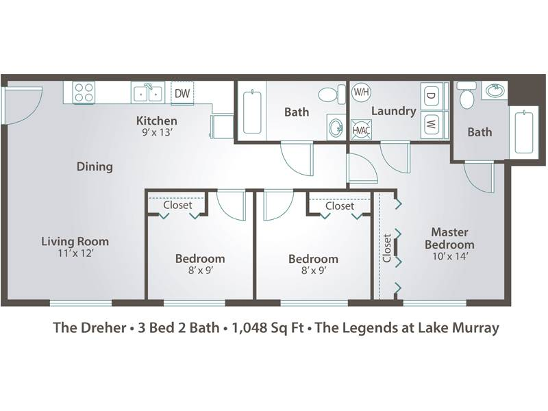 The Dreher - 3 Bedroom / 2 Bathroom Image