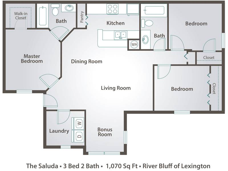 Apartment floor plans pricing river bluff of lexington for The 3 bedroom floor plans apartment