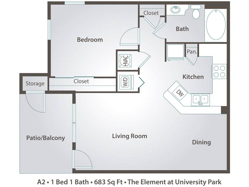 A2 - 1 Bedroom / 1 Bathroom Image