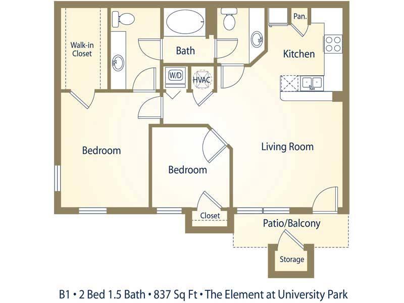 B1 - 2 Bedroom / 1.5 Bathroom Image