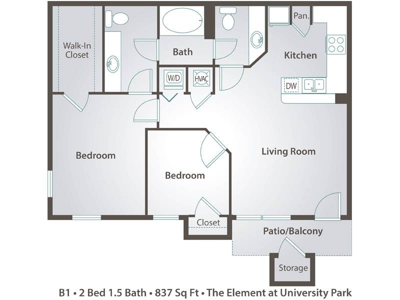 The Cypress - 2 Bedroom / 1.5 Bathroom Image