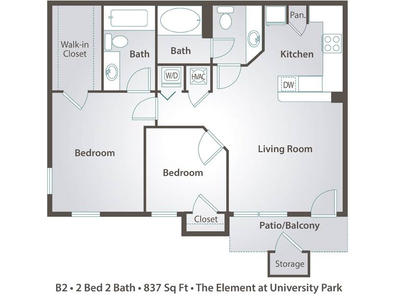 The Pine - 2 Bedroom / 2 Bathroom Image