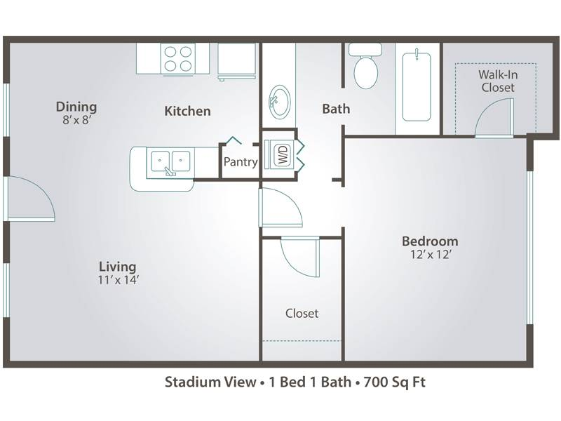 1 Bedroom - 1 Bedroom / 1 Bathroom Image