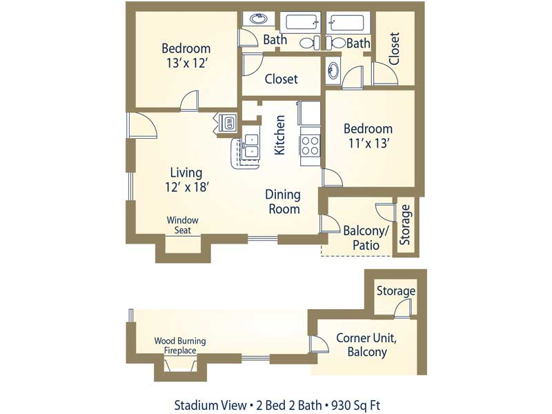 2 Bedroom (By the Bed) - 2 Bedroom / 2 Bathroom Image