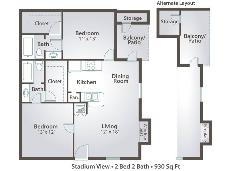 2 Bedroom - 2 Bedroom / 2 Bathroom Image